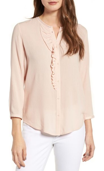 Hinge ruffle top in pink hero - A ruffle-trimmed placket and split back provide flirty...