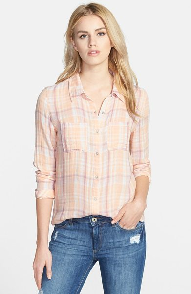 Hinge plaid shirt in coral nectar scotch plaid - Cool, colorful checks complete the quintessential...