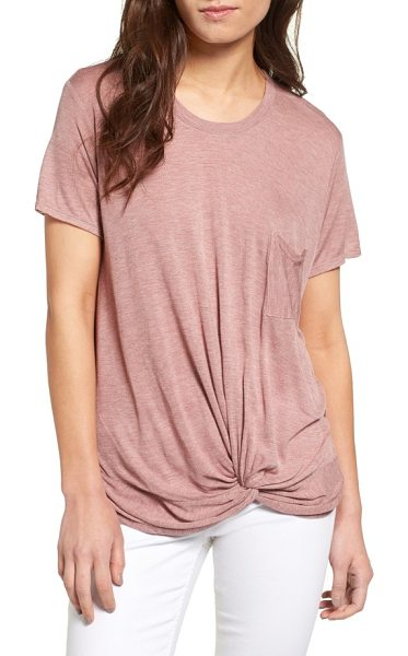 HINGE twist hem tee in pink ash - A supersoft tee cut from lightweight rayon is leveled up...