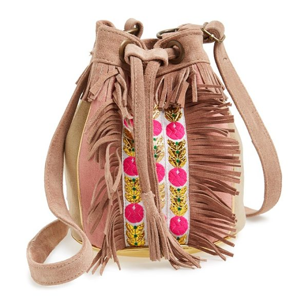 HIPANEMA Amenapih cheyenne crossbody bucket bag in pink - Lush suede trim heightens the retro sophistication of a...