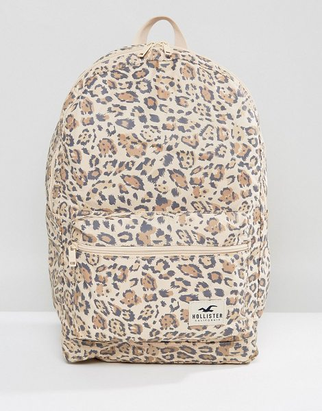 Hollister Core Canvas Backpack in brown - Backpack by Hollister, Durable canvas outer, Leopard...