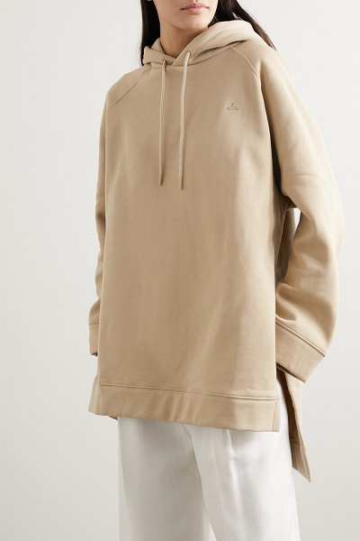 HOLZWEILER sissel oversized embroidered cotton-jersey hoodie in beige