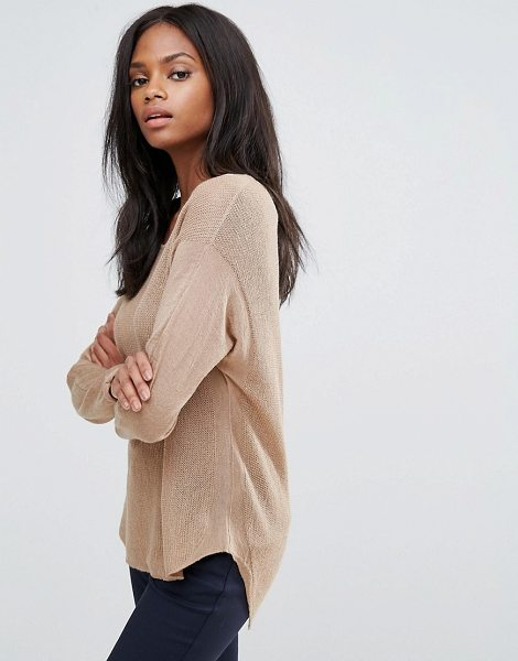 "H.One h.One Wool Mix Relaxed Scoop Knit Sweater in brown - """"Sweater by H.One, Wool-mix knit, Scoop neck, Dropped..."