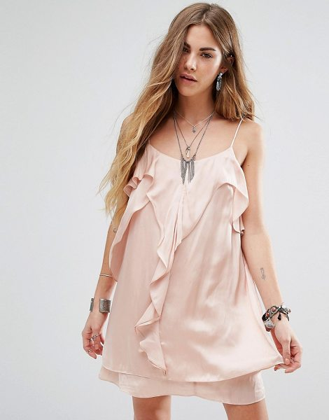 "Honey Punch Cami Dress With Frill Front in pink - """"Dress by Honey Punch, Smooth woven fabric, Round neck,..."