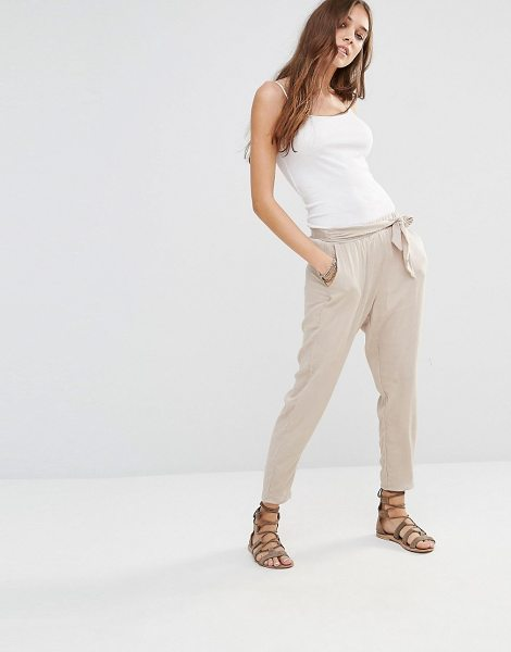 "Honey Punch Peg Leg Pants With Big Bow Detail in cream - """"Pants by Honey Punch, Lightweight textured woven..."