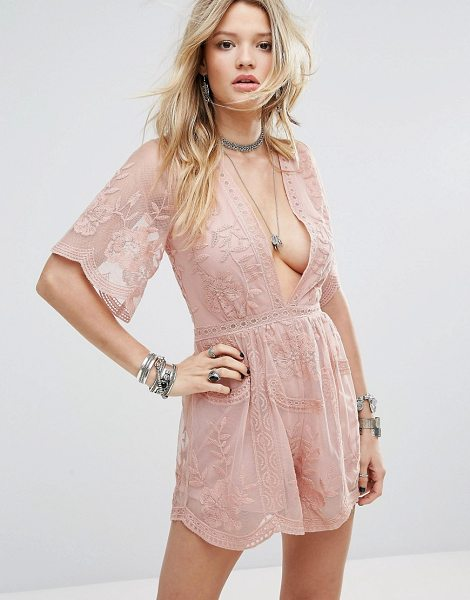 Honey Punch Plunge Front Romper in pink - Romper by Honey Punch, Lined sheer mesh, Floral...