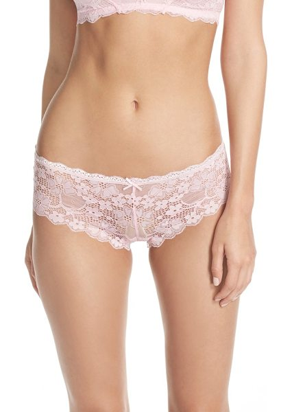 Honeydew Intimates camellia hipster briefs in pink sand - Darling floral lace lends delicate sheerness to these...