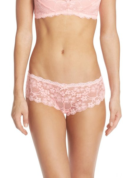 HONEYDEW INTIMATES camellia hipster briefs in electric peach - Darling floral lace lends delicate sheerness to these...