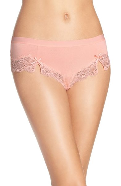Honeydew Intimates hipster panties in peach tea - Fun color and flirty lace upgrade comfy, everyday briefs.