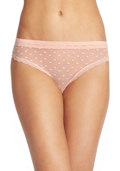Honeydew Intimates 'maddie' swiss dot thong in bare - Scalloped lace traces the edges of this low-rise thong...