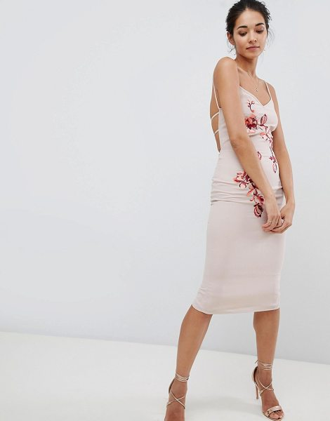 Hope and Ivy hope & ivy embroidered cami dress in cream - Midi dress by Hope and Ivy, Be the best-dressed guest,...