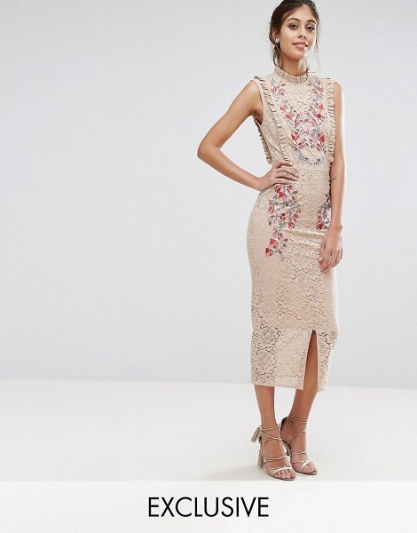 "Hope and Ivy Hope & Ivy Embroidered High Neck Midi Dress In Allover Lace in nudemulti - """"Dress by Hope and Ivy, Lined lace, High neck, Frill..."