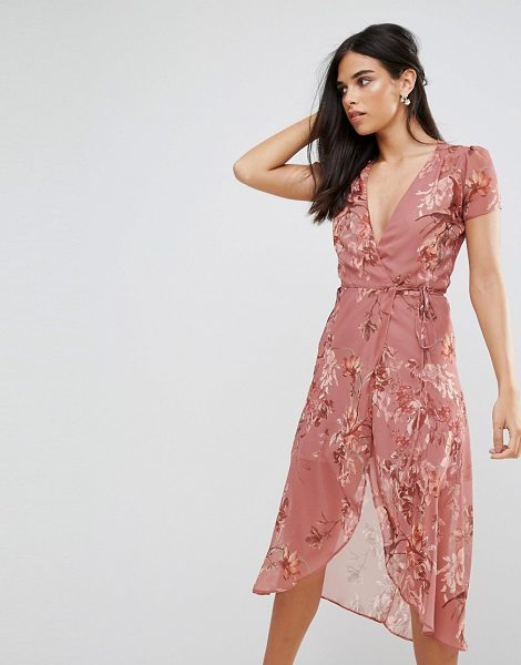 """HOPE AND IVY Hope & Ivy Floral Wrap Tea Dress - """"""""Dress by Hope and Ivy, Printed woven fabric,..."""
