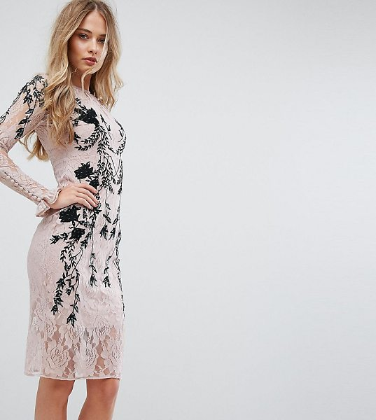 """Hope and Ivy Hope & Ivy Long Sleeve Embellished Backless Dress in pink - """"""""Dress by Hope and Ivy, Lined lace, Contrast..."""
