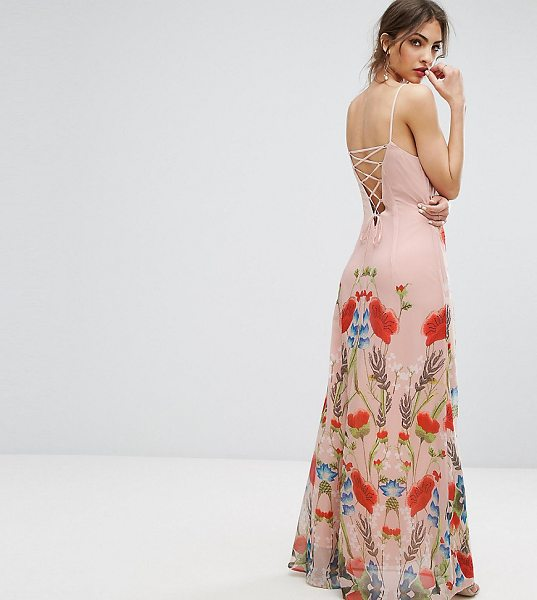 "Hope and Ivy Hope & Ivy Printed Maxi Dress With Lace Up Back Detail in pink - """"Maxi dress by Hope and Ivy, Printed chiffon, Fully..."