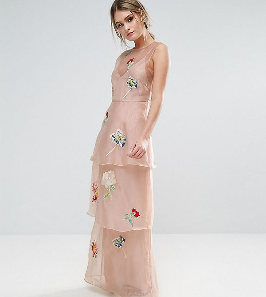 "HOPE AND IVY Hope & Ivy Tiered Maxi Dress With Floral Embroidery in pink - """"Maxi dress by Hope and Ivy, Lined chiffon, Floral..."