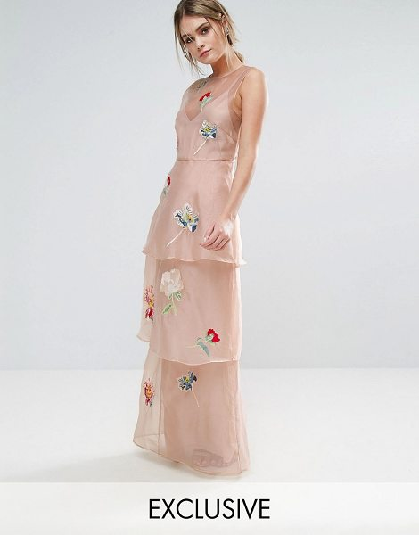 """Hope and Ivy hope & ivy tiered maxi dress with floral embroidery in pink - """"""""Maxi dress by Hope and Ivy, Lined chiffon, Floral..."""