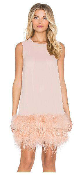 HOSS INTROPIA Feathered mini dress in pink - 100% poly. Dry clean only. Fully lined. Feathered hem....