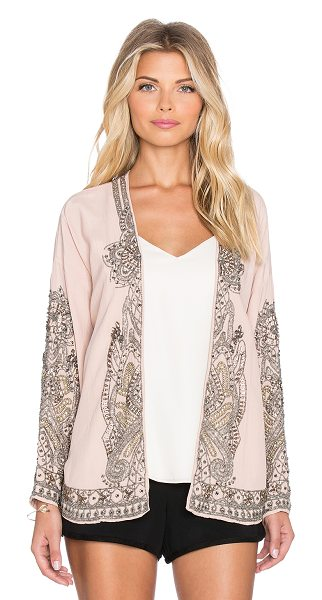 Hoss Intropia Floral swing blazer in blush - 100% viscose. Dry clean only. Open front. Beaded detail....