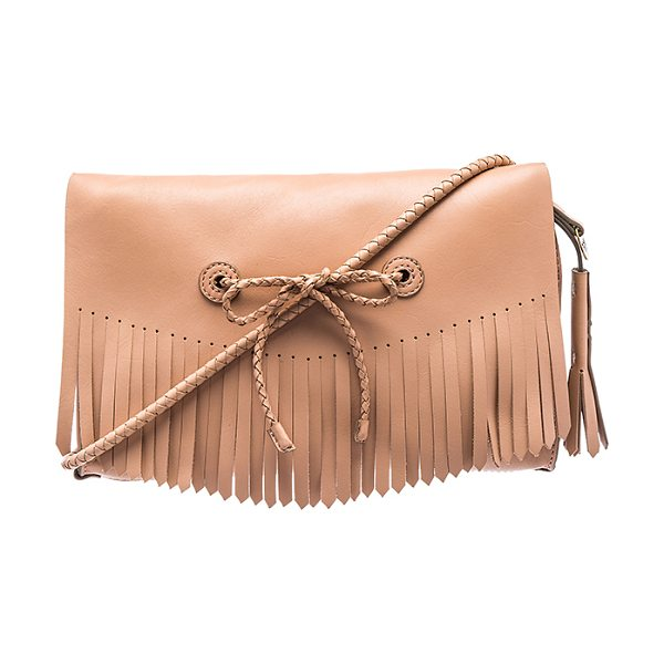 Hoss Intropia Fringe crossbody bag in beige - Leather exterior with raw leather lining. Flap top with...
