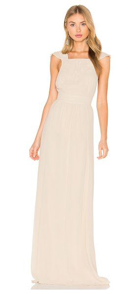 HOSS INTROPIA Sleeveless Square Neck Maxi Dress in beige - Self: 100% viscoseLining: 100% polyEmbroidery 95% cotton...