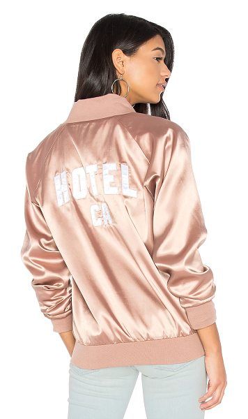 Hotel 1171 1171  CA Satin Bomber in rose taupe - Shell & Lining: 100% poly. Dry clean only. Front zipper...