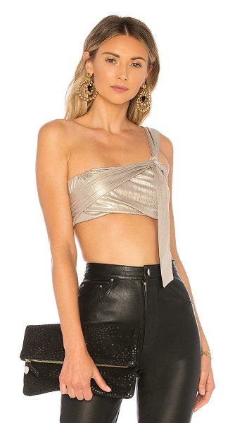 h:ours Chantel Crop Top in metallic gold - Self: 97% poly 3% elastaneLining: 100% poly. Dry clean...