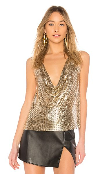 h:ours Ellie Top in metallic gold - 100% aluminum. Do not wash. Gold tone chain link top....