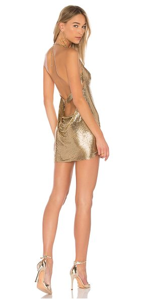h:ours Imogen Chainmail Dress in gold - 100% aluminum. Do not wash. Unlined. Gold tone chainmail...