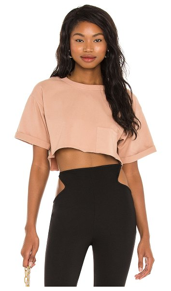 h:ours super cropped pocket tee in nude