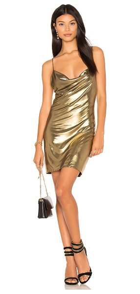 h:ours Willa Chainmail Dress in metallic gold - Lurex blend. Hand wash cold. Fully lined. Draped front...