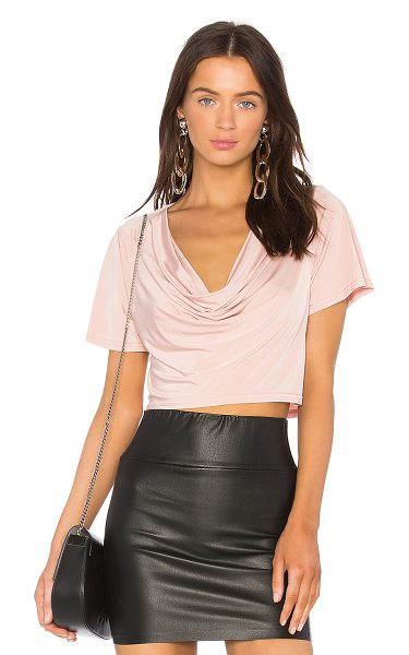 h:ours x REVOLVE Elias Crop Tee in pink - 94% poly 6% elastane. Dry clean only. Draped neckline....
