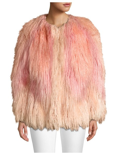 House of Fluff mongolian faux fur jacket in pink