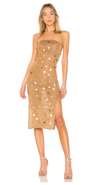 """House of Harlow 1960 x REVOLVE Danielle Dress in metallic gold - """"85% rayon 9% poly 6% metallic. Hand wash cold. Fully..."""