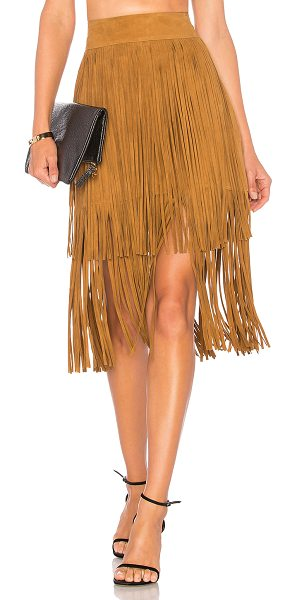 """House of Harlow 1960 x REVOLVE Lori Skirt in cognac - """"Poly blend. Dry clean only. Fully lined. Tiered fringe..."""