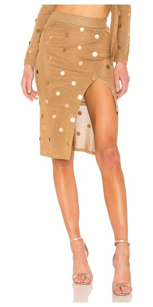 """House of Harlow 1960 x REVOLVE Roxanne Skirt in metallic gold - """"85% rayon 9% poly 6% metallic. Hand wash cold. Fully..."""