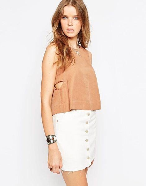 House of Harlow 1960 Emery cropped tank top in caramel - Top by House of Harlow 1960 Smooth woven fabric Round...