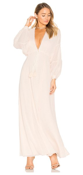 House of Harlow 1960 1960 x REVOLVE Leslie Maxi Dress in pearl - 100% poly. Hand wash. Fully lined. Drawstring waist with...