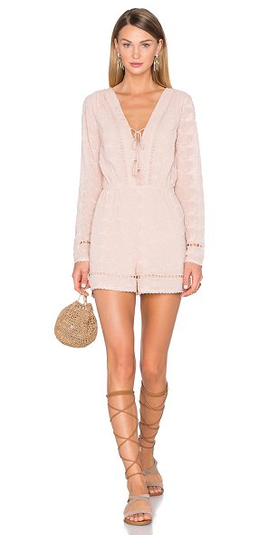 HOUSE OF HARLOW 1960 x REVOLVE Mila Long Sleeve Romper - 100% poly. Hand wash cold. Neckline keyhole with tie...