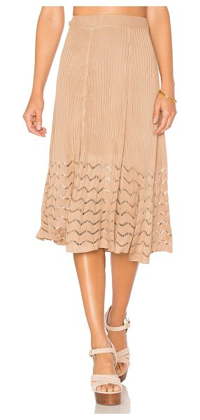 "House of Harlow 1960 x REVOLVE Shaunie Midi Skirt in nude - ""100% viscose. Hand wash cold. Elasticized waist...."