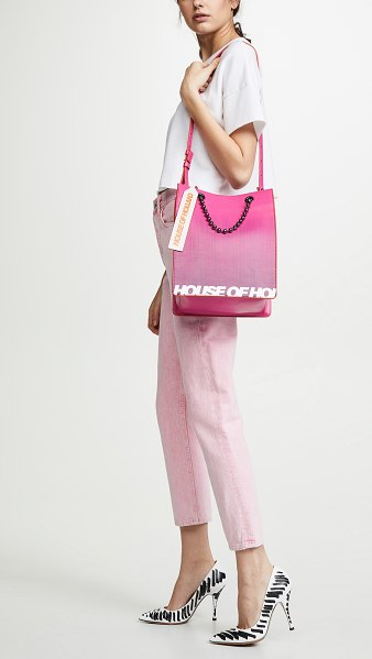 House Of Holland printed mini tote bag in pink/purple