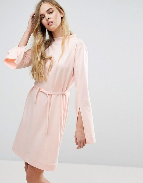 "House of Sunny House Of Sunny Extra Long Sleeved Dress With Tie Waist in pastelpink - """"Dress by House of Sunny, Smooth stretch fabric, High..."