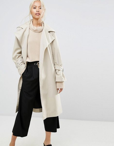 "House of Sunny House Of Sunny Longline Trench Coat With Yoke Back Detail in stone - """"Coat by House of Sunny, Smooth woven fabric, Oversized..."