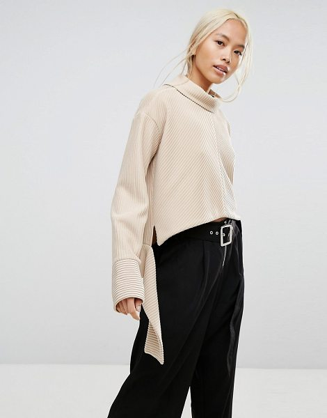 "House of Sunny House Of Sunny Oversized High Neck Sweater In Rib With Tie Wiast in stone - """"Sweater by House of Sunny, Midweight textured knit,..."