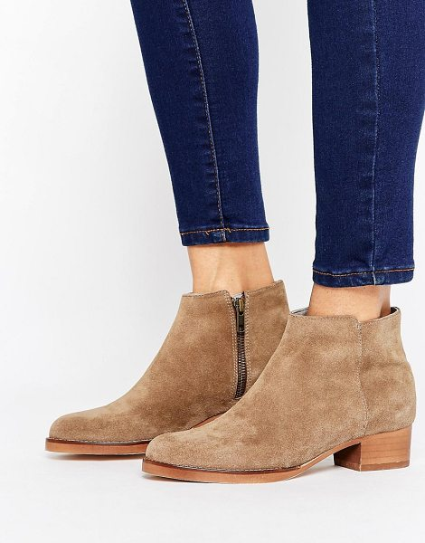 HUDSON H by Hudson Kitten heel Leather Festival Boot in beige - Shoes by Hudson London, Suede upper, Side zip opening,...