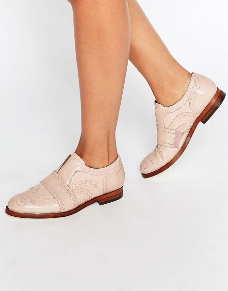 HUDSON Maddie Blush Leather Slip On Brogues in pink - Brogues by Hudson London, Smooth leather upper, Slip-on...