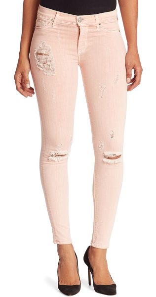 HUDSON nico camo skinny jeans in sunkissed pink destructed - Sleek skinny jeans with a cool camouflage print. Belt...