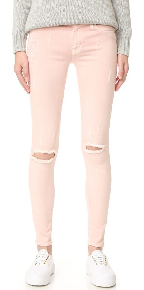 HUDSON nico mid rise super skinny jeans in sunkissed pink destructed - Shredded spots and light fading give these Hudson skinny...