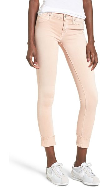 HUDSON tally crop skinny jeans in worn rosewater - With a skinny crop and rolled hem, these...