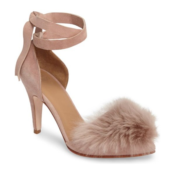HUMA BLANCO danna genuine alpaca fur sandal in rose suede - Downy-soft fur covers the sleek pointed toe of a supple...